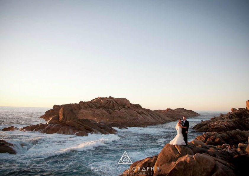Wedding photography on rocks